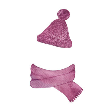 Hand drawn pink knitted scarf and hat isolated on a white background. Watercolor illustration of fashion winter clothes