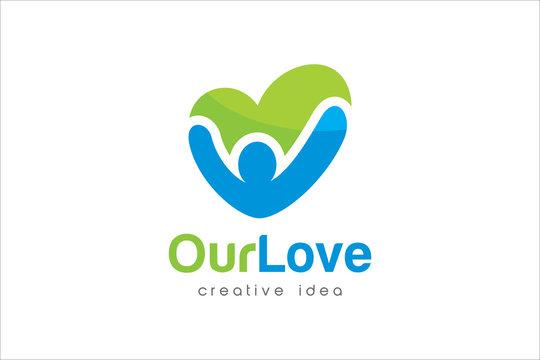 Creative Heart Care Concept Logo Design Template
