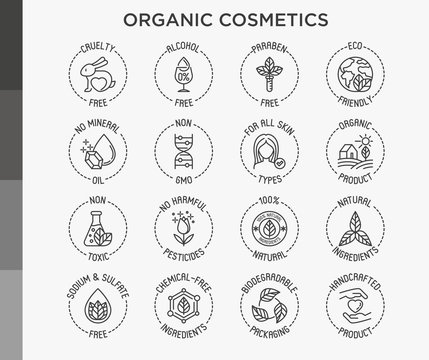 Organic cosmetics set of thin line icons for product packaging. Cruelty free, 0% alcohol, natural ingredients, paraben free, eco friendly, no mineral oil, non GMO. Modern vector illustration.