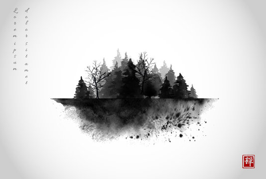Black ink wash painting composition with misty forest trees on white background. Traditional oriental ink painting sumi-e, u-sin, go-hua. Hieroglyph - zen