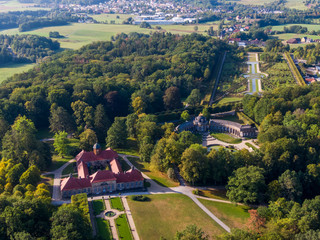 Aerial view of the State Hermitage Museum in Bayreuth, Germany