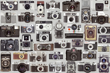 Flat lay picture of old vintage photo cameras collection, retro analog camera set on June 09, 2019 in Vilnius, Lithuania