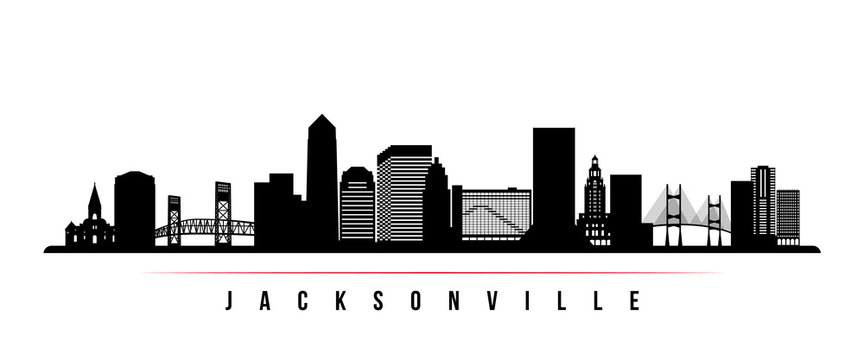Jacksonville skyline horizontal banner. Black and white silhouette of Jacksonville, Florida. Vector template for your design.