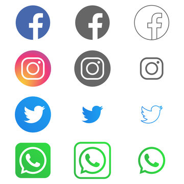 Facebook, instagram, twitter and whats up logos and icons printed on white background in different styles. Editorial vector. Kyiv, Ukraine - November 23, 2019
