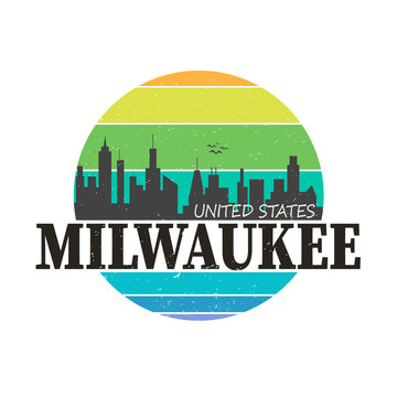 Milwaukee city logo in colorful vector shirt design