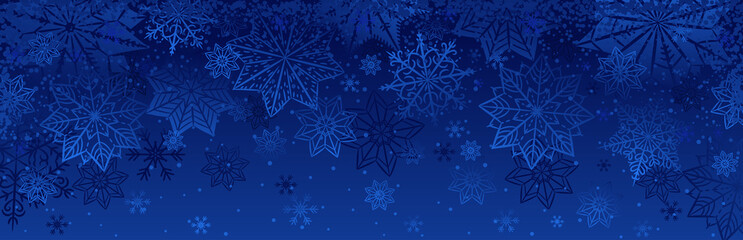 Blue christmas banner with snowflakes. Merry Christmas and Happy New Year greeting banner. Horizontal new year background, headers, posters, cards, website.Vector illustration Fotomurales