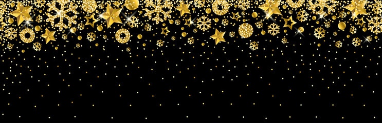Wall Mural - Black christmas banner with golden glittering snowflakes and stars. Merry Christmas and Happy New Year greeting banner. Horizontal new year background, headers, posters, cards, website.Vector illustra