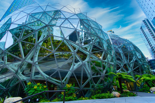 Seattle, Washington - November 22, 2019 (Image has been digitally altered): General view of Amazon Spheres in downtown Seattle, Washington