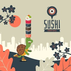 Sushi delivery banner, vector illustration. Japanese food menu with funny cartoon character turtle on roller skates. Family friendly restaurant of Asian cuisine