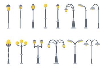 Set of street lights cartoon isolated on white background. Modern and vintage street light. Elements for landscape construction. Vector illustration for any design. Fotomurales