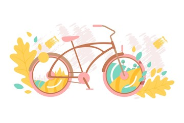 Creative bicycle concept, vector illustration. City and landscape seen through bike wheels, autumn leaves and brush stroke. Retro bicycle in flat style, outdoor recreation