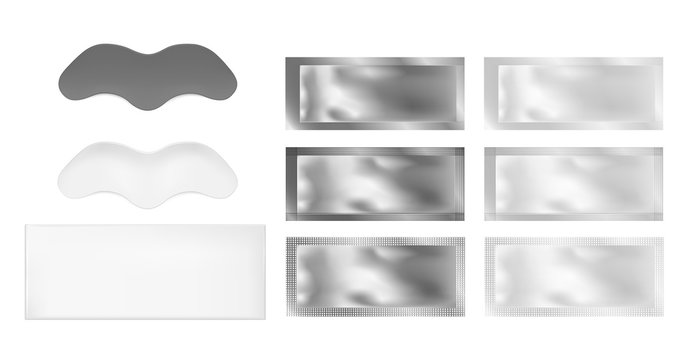 Vector realistic image of nose strips and foil sachet