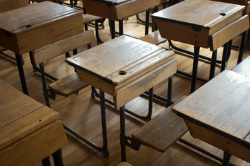 Old fashioned classroom and school desks