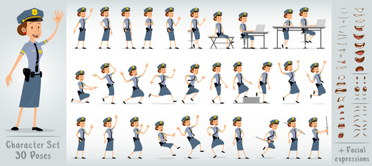 Cartoon flat cute funny police girl character in blue uniform and cap with golden star badge. 30 different poses and face expressions. Isolated on white background. Big vector icon set.