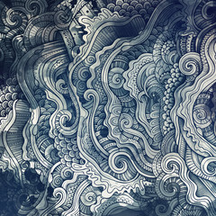 Stores à enrouleur Style Boho Decorative abstract wavy ornamental ethnic raster background