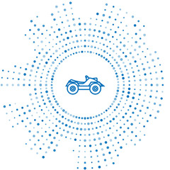 Blue line All Terrain Vehicle or ATV motorcycle icon isolated on white background. Quad bike. Extreme sport. Abstract circle random dots. Vector Illustration