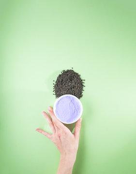 Woman's hand holding purple moisturizing cream with bakuchiol ingredient. Babchi seeds (Psoralea corylifolia). Bakuchiol cosmetics concept. Flat lay, copy space, vertical.