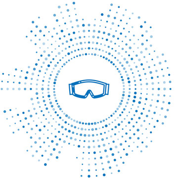 Blue line Ski goggles icon isolated on white background. Extreme sport. Sport equipment. Abstract circle random dots. Vector Illustration