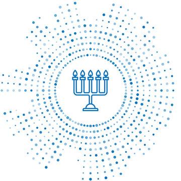 Blue line Hanukkah menorah icon isolated on white background. Hanukkah traditional symbol. Holiday religion, jewish festival of Lights. Abstract circle random dots. Vector Illustration