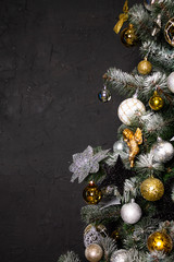 Christmas tree in the corner of the image as a symbol of the new year and Christmas