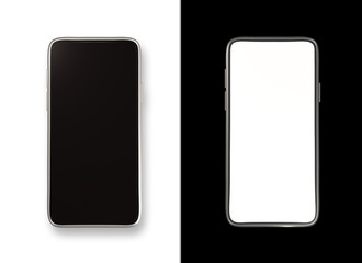 B&W isolated smartphones mockup. Flat lay template (3D renderings)