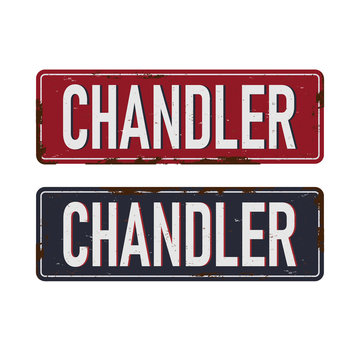 Chandler Arizona state city license plate in the colors of the state flag with icons over a white background