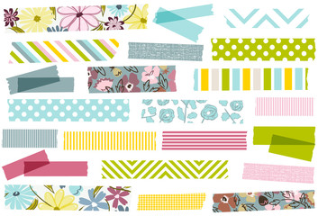 Collection of pastel floral washi tape strips. Semi-transparent masking tape or adhesive strips for scrapbooking, crafts, web and more.