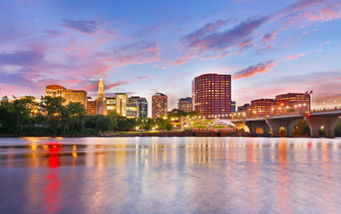 The skyline of Hartford, Connecticut at sunset. Photo shows Founders Bridge and Connecticut River. Hartford is the capital of Connecticut.  Wall mural
