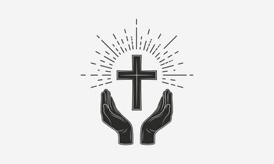 Vintage Christian logo. Hands with catholic cross and sunburst. Vector illustration