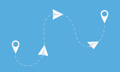 Paper airplanes flight from starting to end point. Email, Message, Teamwork business concept. Vector illustration Wall mural