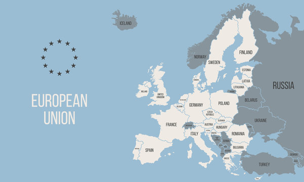 EU poster map. European Union political map. Europe map isolated on blue background. Vector illustration