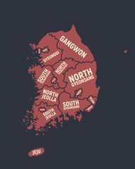 Wall Mural - South Korea poster map with state names. Vector illustration