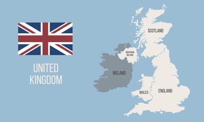 Wall Mural - Vector Great Britain map wit UK flag isolated on white background. Vintage United Kingdom poster map. Vector illustration