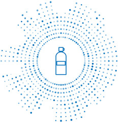 Blue line Aqualung icon isolated on white background. Oxygen tank for diver. Diving equipment. Extreme sport. Diving underwater equipment. Abstract circle random dots. Vector Illustration