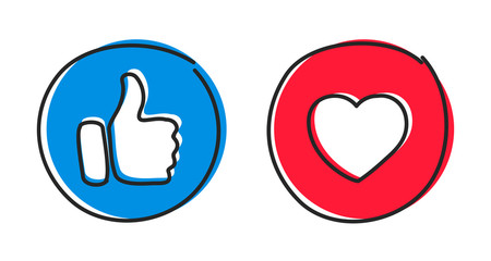 Social buttons thumb up like and red heart icons. Social media likes icons hand drawn – stock vector