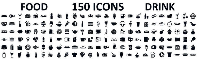 Food and drinks set 150 icons for menu, infographics, design elements – stock vector Wall mural