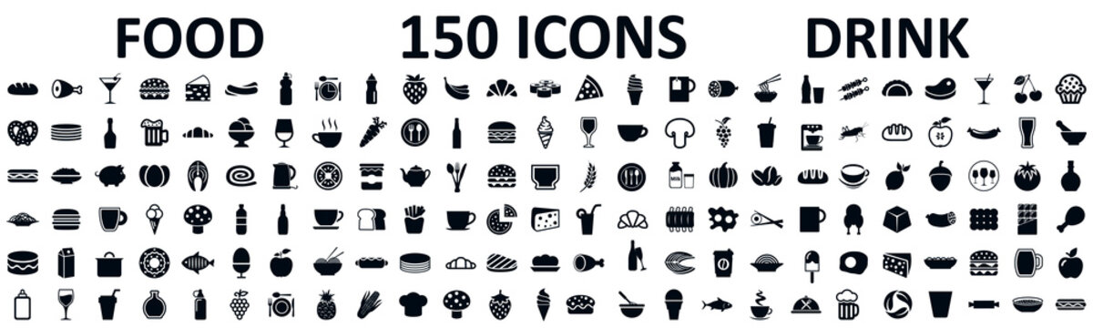Food and drinks set 150 icons for menu, infographics, design elements – stock vector