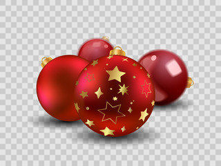Four red Christmas balls with gold stars, empty and  transparent New year toy decoration - vector
