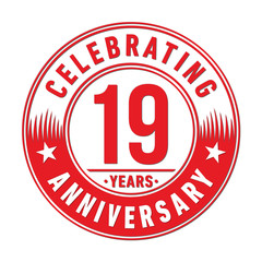 19 years anniversary celebration logo template. Nineteen years vector and illustration.
