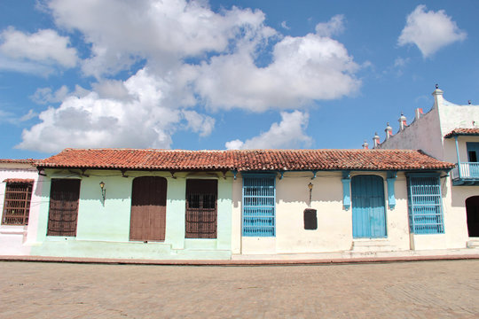 Colorful colonial houses in the streets of the old charming town of Camaguey, Cuba (UNESCO World Heritage)