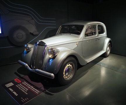 Vintage Lancia Aprilia 1948 car at Turin car museum in Turin