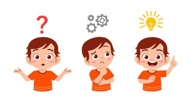 happy cute kid boy search idea process