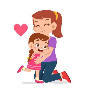 happy cute kid girl hugging mom love