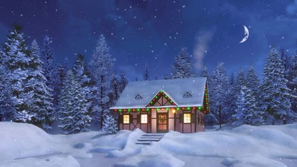 Wall Mural - Cozy half-timbered rural house decorated for Christmas among snowy fir forest at snowfall winter night with half moon in starry sky. Decorative 3D animation for Xmas or New Year in cinemagraph style.