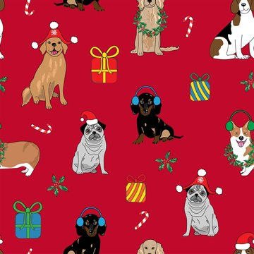 All over seamless repeat pattern with happy smiling dogs in Santa hats with Christmas decorations, candy cane, presents and holly wreaths