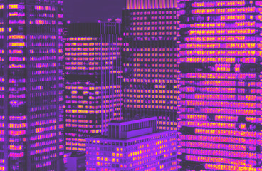 Skyscrapers illuminated at night in Tokyo, Japan synth wave style