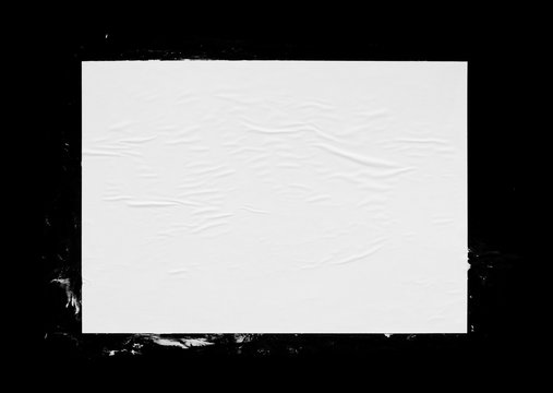 White poster mockup isolated. Glued creased paper texture