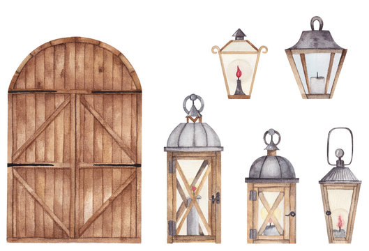Watercolor vintage lanterns set and wooden barn door isolated on white background. Hand drawn wooden decorative elements