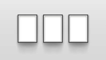 three simple frames on grey