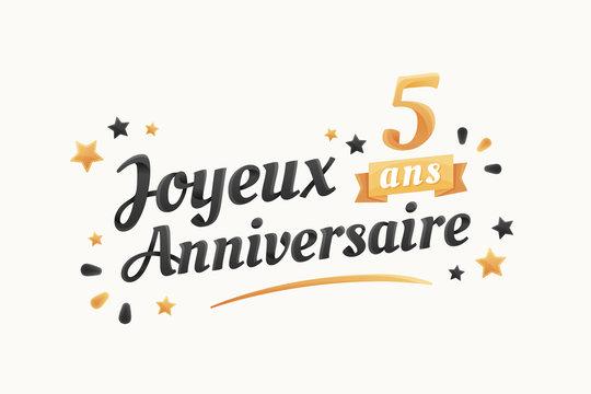 Joyeux Anniversaire - 5 ans - Carte de vœux